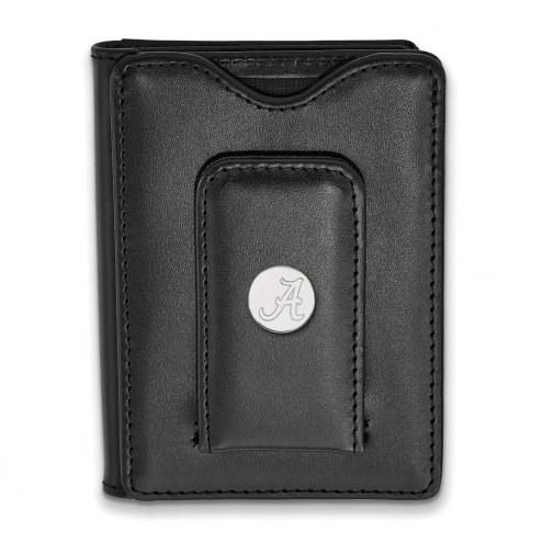 Alabama Crimson Tide Sterling Silver Black Leather Wallet