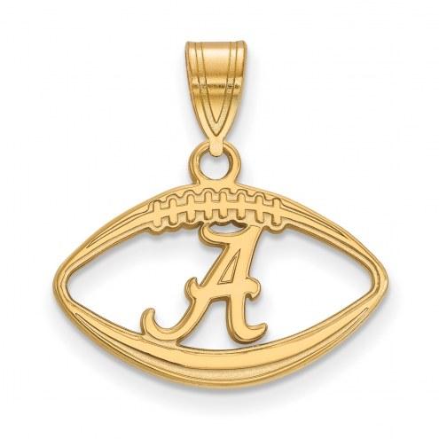 Alabama Crimson Tide Sterling Silver Gold Plated Football Pendant