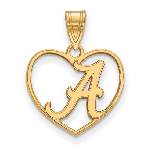 Alabama Crimson Tide Sterling Silver Gold Plated Heart Pendant
