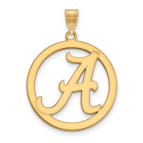 Alabama Crimson Tide Sterling Silver Gold Plated Large Circle Pendant