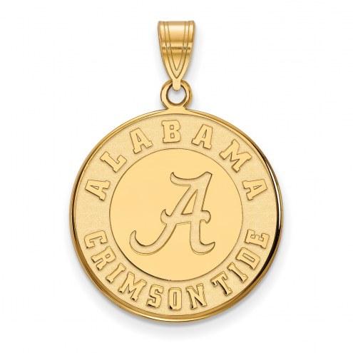 Alabama Crimson Tide Sterling Silver Gold Plated Large Disc Pendant