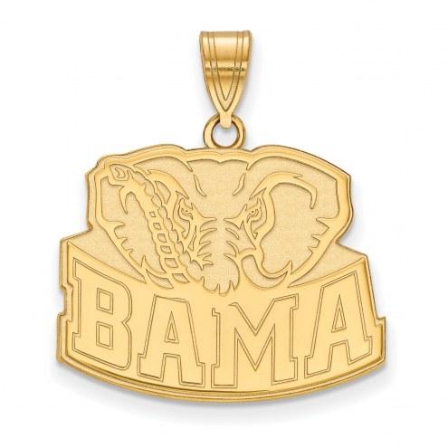 Alabama Crimson Tide Sterling Silver Gold Plated Large Pendant