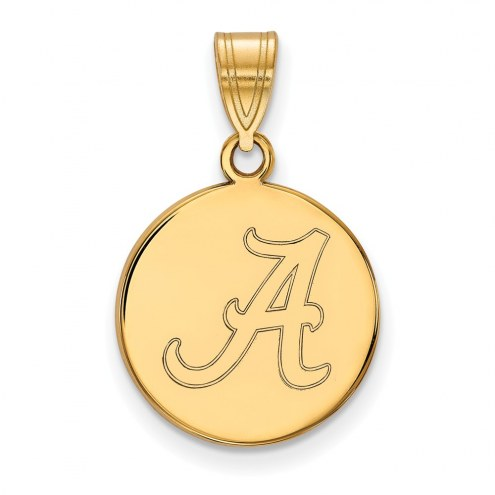 Alabama Crimson Tide Sterling Silver Gold Plated Medium Disc Pendant