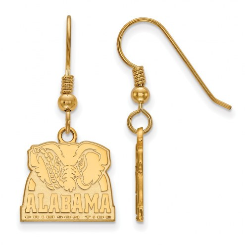 Alabama Crimson Tide Sterling Silver Gold Plated Small Dangle Earrings
