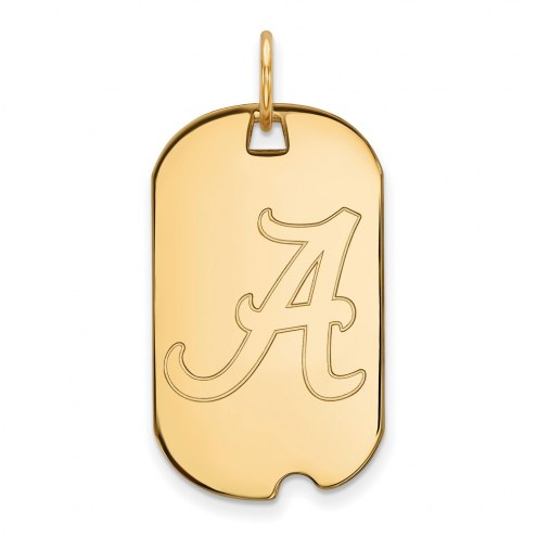 Alabama Crimson Tide Sterling Silver Gold Plated Small Dog Tag