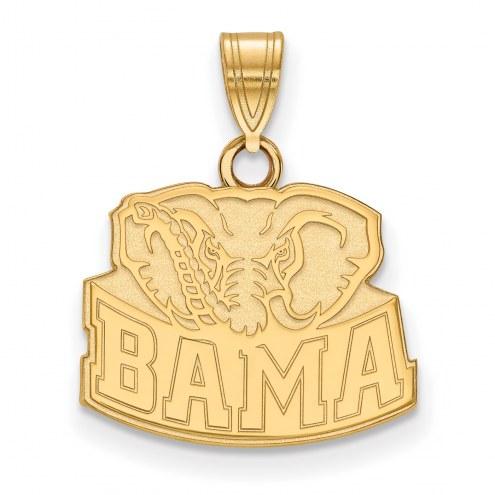 Alabama Crimson Tide Sterling Silver Gold Plated Small Pendant