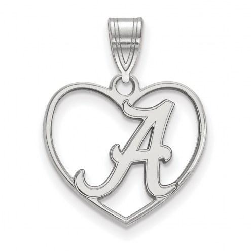 Alabama Crimson Tide Sterling Silver Heart Pendant