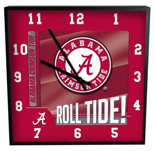 Alabama Crimson Tide Team Black Square Clock