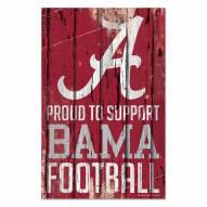 Alabama Crimson Tide Proud to Support Wood Sign