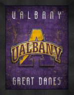 Albany Great Danes Retro Logo Map Framed Print