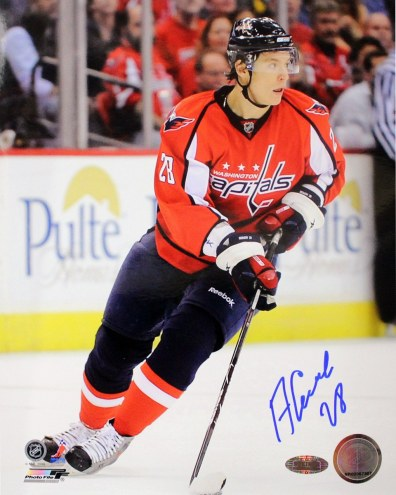 Alex Semin Capitals Red Jersey Vertical Signed 8x10 Photo