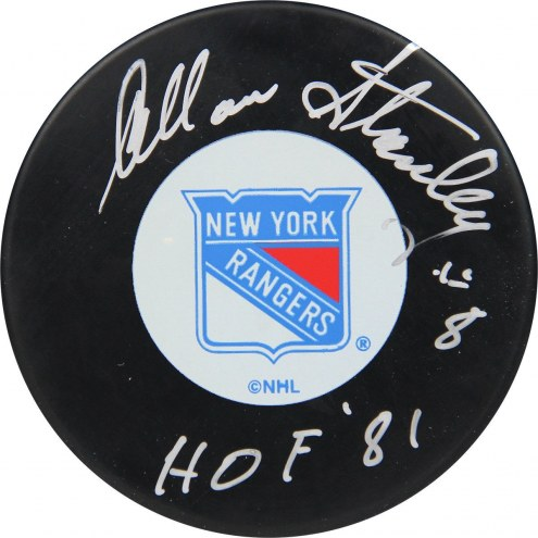 Allan Stanley New York Rangers Signed Hockey Puck W/ HOF 81""
