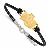 American University Eagles Gold Plated Sterling Silver Leather Bracelet