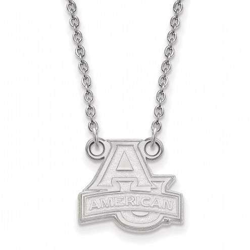 American University Eagles Sterling Silver Small Pendant with Necklace