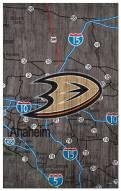 "Anaheim Ducks 11"" x 19"" City Map Sign"