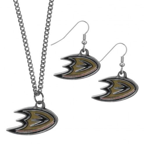 Anaheim Ducks Dangle Earrings & Chain Necklace Set