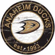 Anaheim Ducks Distressed Round Sign