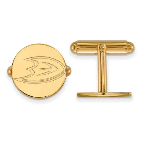 Anaheim Ducks Sterling Silver Gold Plated Cuff Links