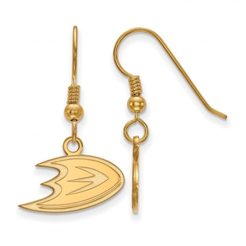 Anaheim Ducks Sterling Silver Gold Plated Extra Small Dangle Earrings