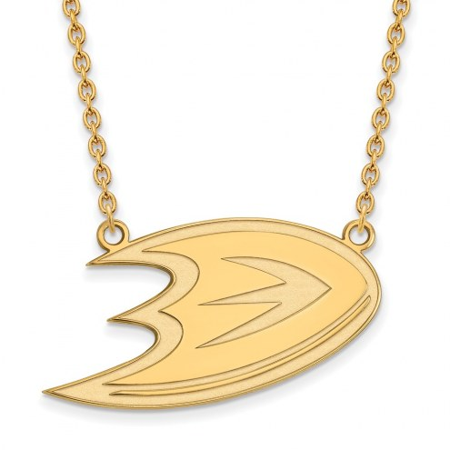 Anaheim Ducks Sterling Silver Gold Plated Large Pendant Necklace