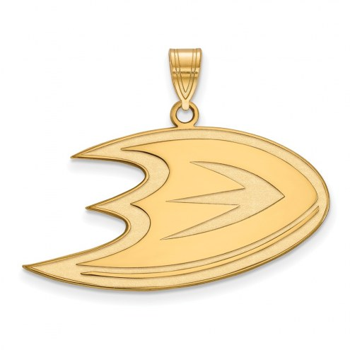Anaheim Ducks Sterling Silver Gold Plated Large Pendant