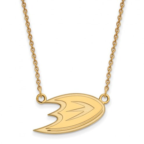 Anaheim Ducks Sterling Silver Gold Plated Small Pendant Necklace