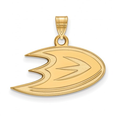 Anaheim Ducks Sterling Silver Gold Plated Small Pendant