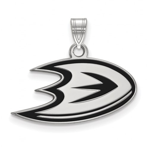 Anaheim Ducks Sterling Silver Small Enamel Pendant