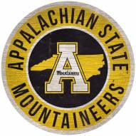 "Appalachian State Mountaineers 12"" Circle with State Sign"
