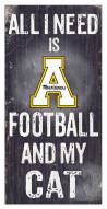 "Appalachian State Mountaineers 6"" x 12"" Football & My Cat Sign"