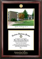 Appalachian State Mountaineers Gold Embossed Diploma Frame with Campus Images Lithograph