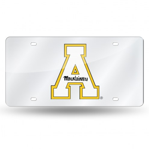 Appalachian State Mountaineers Silver Laser Cut License Plate