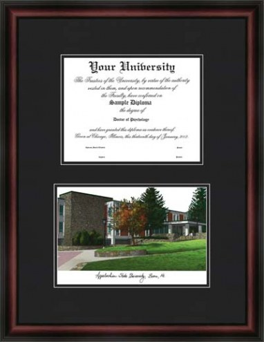 Appalachian State University Diplomate Framed Lithograph with Diploma Opening