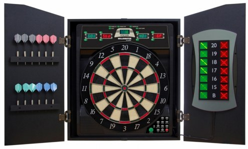 Arachnid Bullshooter Cricket Maxx 5.0 Bristle Dart Board Cabinet Set