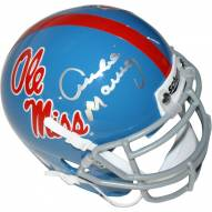 Archie Manning Signed Ole Miss Powder Blue Replica Mini helmet (Signed in Silver)