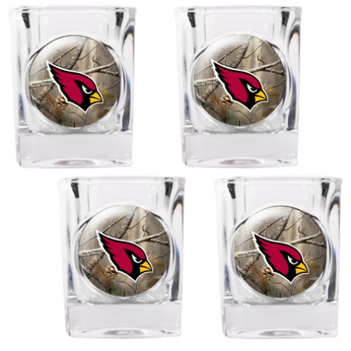 Arizona Cardinals Open Field 4-Piece RealTree Square Shot Glass Set