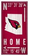 """Arizona Cardinals 6"""" x 12"""" Coordinates Sign"""