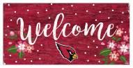 """Arizona Cardinals 6"""" x 12"""" Floral Welcome Sign"""
