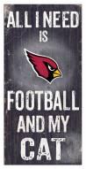 """Arizona Cardinals 6"""" x 12"""" Football & My Cat Sign"""