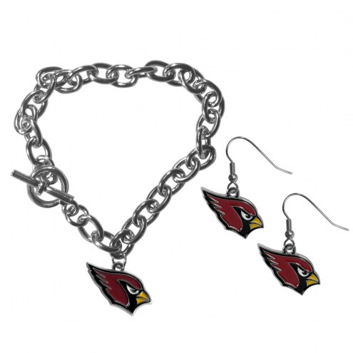 Arizona Cardinals Chain Bracelet & Dangle Earring Set