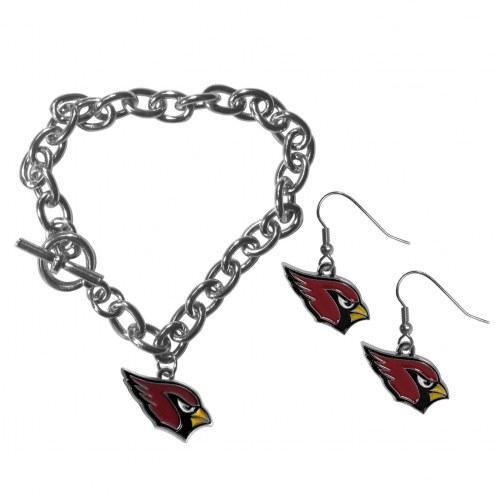 Arizona Cardinals Chain Bracelet & Dangle Earring Set
