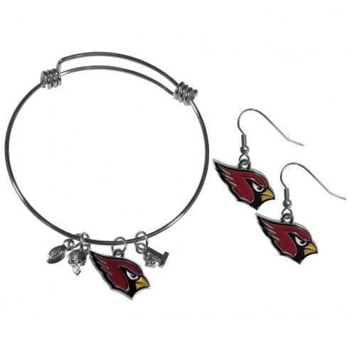 Arizona Cardinals Dangle Earrings & Charm Bangle Bracelet Set