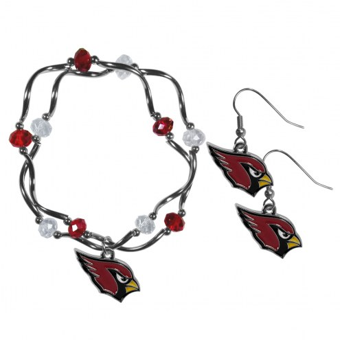 Arizona Cardinals Dangle Earrings & Crystal Bead Bracelet Set