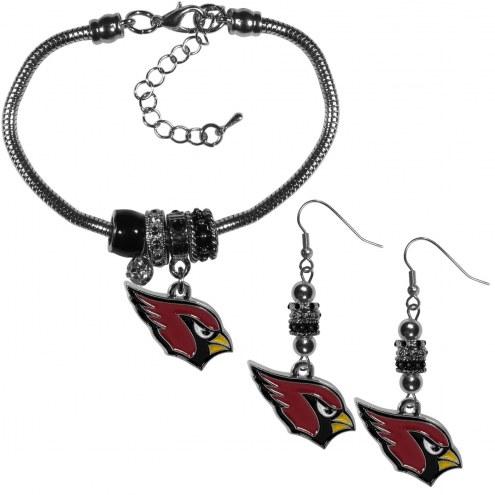 Arizona Cardinals Euro Bead Earrings & Bracelet Set
