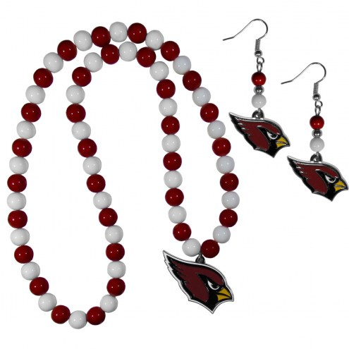 Arizona Cardinals Fan Bead Earrings & Necklace Set