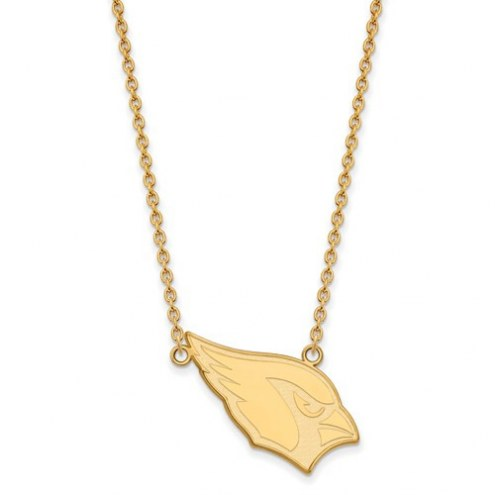 Arizona Cardinals Sterling Silver Gold Plated Large Pendant with Necklace