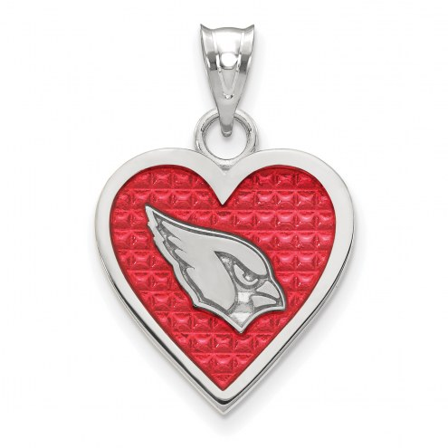 Arizona Cardinals Sterling Silver Enameled Heart Pendant