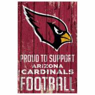 Arizona Cardinals Proud to Support Wood Sign