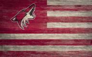 "Arizona Coyotes 11"" x 19"" Distressed Flag Sign"
