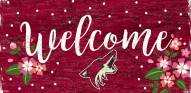 """Arizona Coyotes 6"""" x 12"""" Floral Welcome Sign"""